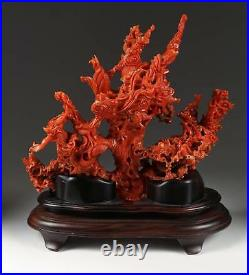 A Stunning Chinese Carved Coral Figural Group Guanyin, Dragons, Waves, Clouds