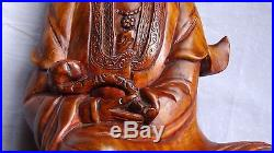 ANTIQUE 19c CHINESE PEAR WOOD CARVED STATUE OF QUAN-YIN SEATED ON DRAGON& LOTUS