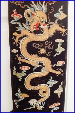 Antique 19c Chinese Silk Embroidered Gold Thread Dragons