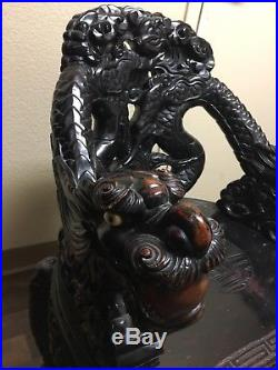 ANTIQUE 19c CHINESE WOOD CARVED DRAGONS ARM CHAIR, THRONE