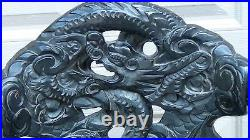 ANTIQUE 19c JAPANESE WOOD RELIEF DRAGON & CLOUDS MOTIF CARVED ARMCHAIR