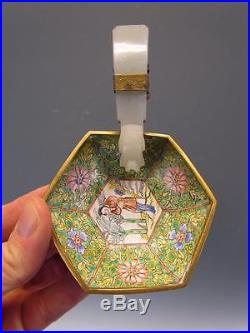 ANTIQUE 19thC CHINESE FLORAL ENAMEL WINE CUP BOWL JADE DRAGON BELT HOOK HANDLE
