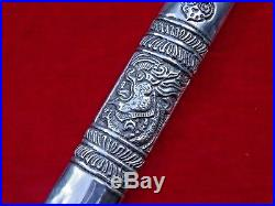 ANTIQUE BHUTANESE TIBETAN or CHINESE SILVER DAGGER HAND CHASED DRAGON