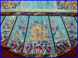 ANTIQUE CHINESE 19th c QIING EMBROIDERED SILK PANEL DRAGON ROUNDEL EMBROIDERY