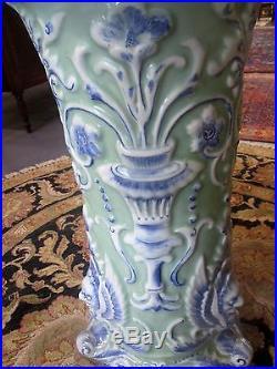 Antique Chinese Celadon 37 Tall. Jardiniere & Pedestal Dragon Design Impressive