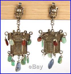 Antique Chinese Coin Silver Dragon Lantern Earrings Natural Jade Sapphire Rubies