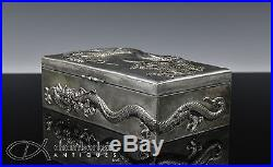 ANTIQUE CHINESE EXPORT SILVER BOX WITH RELIEF DRAGONS ZEE SUNG