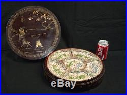 ANTIQUE CHINESE PORCELAIN 6 PIECE CANTON DRAGONS SUPPER SET IN LACQUER BOX