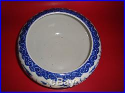 ANTIQUE CHINESE QIANLONG Marked Large BLUE & WHITE 5 CLAWS DRAGON BOWL