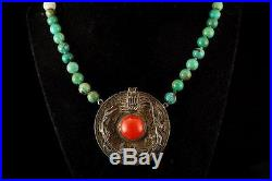 Antique Chinese Red Coral Green Turquoise Jade Dragon Silver Necklace 052916350