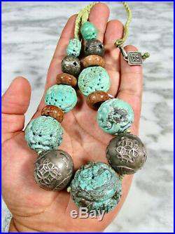 ANTIQUE CHINESE SILVER & HUGE 32mm CARVED TURQUOISE DRAGON SHOU BEAD NECKLACE