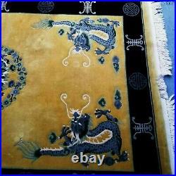 ANTIQUE Chinese art deco DRAGON DESIGN RUG 9x6