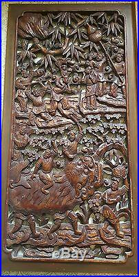 Antique Japanese Chinese Wood Solid Pierced Hand Carved Panel, Dragon People