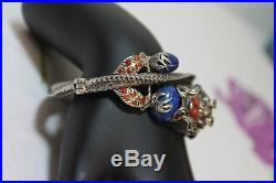ANTIQUE ORIENTAL CHINESE STERLING SILVER Lapis Coral Turquoise DRAGON BRACELET