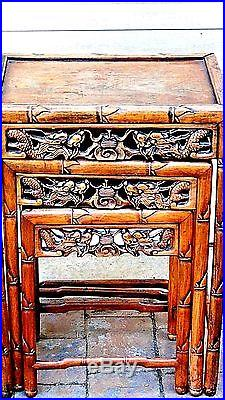 ANTIQUE SET OF 3 CHINESE ROSEWOOD BAMBOO DESIGN WithDRAGON & BAT NESTING TABLES