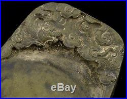 ANTIQUE SIGNED 19THC CHINESE DRAGON FIGURAL SCHOLARS CARVED DUAN STONE INKSTONE