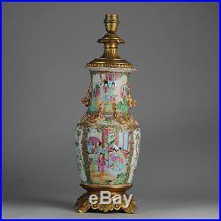 ANtique China 19C & 59cm Chinese Porcelain Cantonese Lamp Vase Figural Dragon