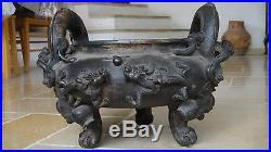 Ancient Antique Chinese Museum Grade Huge! Bronze Censer Incense Burner Dragons