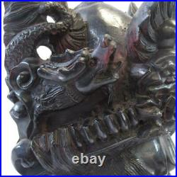 Antique 10.5 Hand Carved Ornate Hardwood Chinese Emperor & Dragons Wall Mask