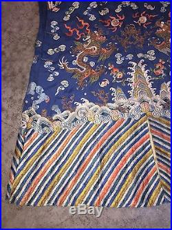 Antique 1800's / 19th C. Chinese Silk Manchu Court Dragon Robe with Bats & Water