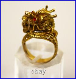 Antique 18K Solid Gold Chinese Dragon Ring Adjustable Size
