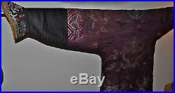 Antique 18th c. Purple brocade Chinese 9 dragon robe Qing Dynasty
