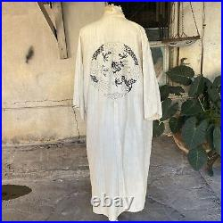 Antique 1920s 1930s Raw Silk Embroidered Dragon Robe Duster Chinese Vintage