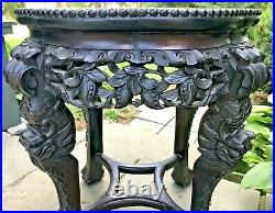 Antique 19CCHINESE CARVED DRAGON LEG ROSWOOD&MARBLE TABLE/TABORET/STANDAsian
