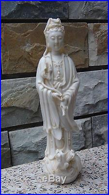 Antique 19c Chinese White Porcelain Quan-yin On A Dragon Statue With The Lotus