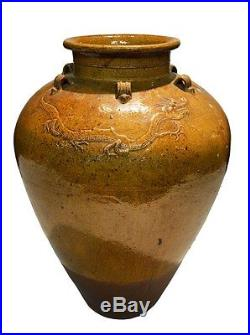 Antique 28 Asian Chinese Yuan Dynasty Ceramic Dragon Ornate Rustic Water Jug