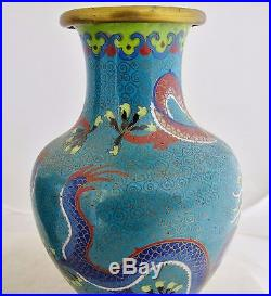 Antique 9 Pair of Chinese Blue Cloisonne Vases with Cobalt Celestial Dragons