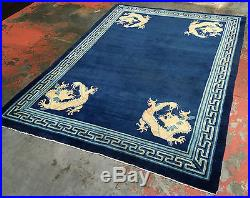 Antique Art Deco Beijing Chinese Dragon Rug 5x7ft. Mint Condition c. 1900
