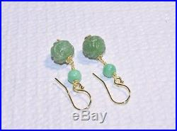 Antique Art Deco Chinese 14K Gold Carved Green Jadeite Jade Dragon Earrings