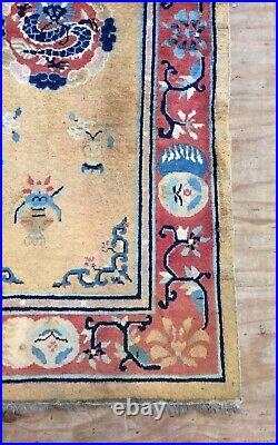 Antique Art Deco Chinese Handwoven Dragon Design With Gold Field Rug
