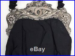 Antique Art Deco Silver Chinese Double Dragon Black Fringe Purse China Scent Bag