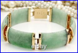 Antique C 1920 Deco 14k Gold Chinese Carved Dragon Green Jade Jadeite Bracelet