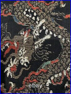 Antique CHINESE BROCADE SILK DRAGON PANEL WALL HANGING Qing Dynasty