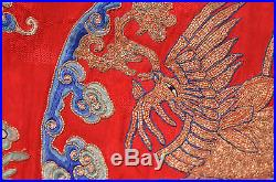 Antique CHINESE ROBE Embroidery DRAGON 5 Claw PHOENIX GOLD Thread QING Silk