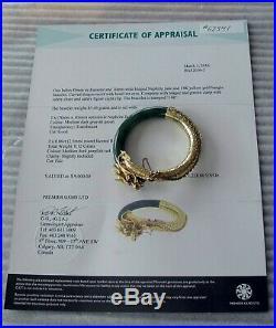 Antique Chinese 14K Gold Nephrite Jade Carved Dragon Bracelet Rubies $9000.00