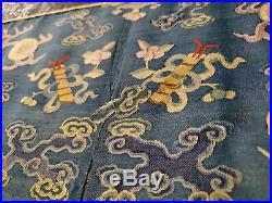 Antique Chinese 19th Century Kesi Imperial Nine Dragon Robe Framed Silk Qing
