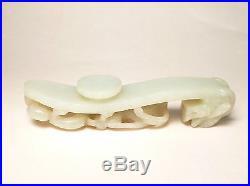 Antique Chinese 19th Century Pale Celadon Jade Belt Hook Dragon & Chilong