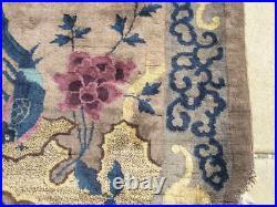 Antique Chinese Art Deco Oriental Rug Birds Dragon Cherry Trees 50x80 Oval
