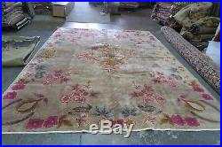 Antique Chinese Art Deco Rug Hand Knotted Wool Nichols Dragon 9' x 11'7
