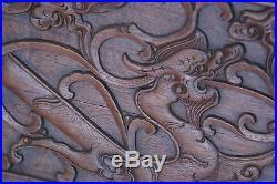 Antique Chinese Bed Walnut Serpent Dragon Snake Sofa HeTaoMu Shanxi Low Back