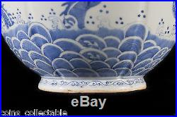 & Antique Chinese Blue & White Porcelain Emperor Five Claws Dragons Vase