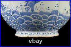 Antique Chinese Blue & White Porcelain Emperor Five Claws Dragons Vase &