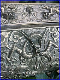 Antique Chinese Brass OR Bronze Dragons Figure High Relief Heavy 3D Trinket Box