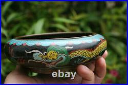 Antique Chinese Bronze Cloisonne Dragon Brush Wash Bowl Pot
