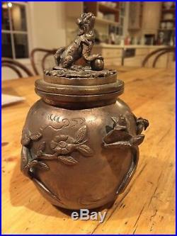 Antique Chinese Bronze Copper Dragon Incense Burner Censer Lidded FOO DOG