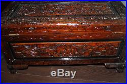 Antique Chinese Camphor Wood Carved Large Storage Dragon Chest Trunk
